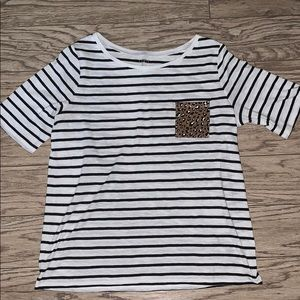 New loft stripe/leopard top sz L